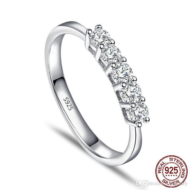 100% 925 Sterling Silver Five 3mm CZ Diamond Single Row Simple Bright Women Ring Romantic Starlight Finger Fine Jewelry Gift XR392