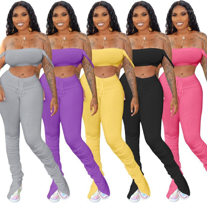 Crop Top двухкусочный Эпикировка Stacked Брюки соответствующие наборы Повседневный естественный цвет костюмы Мода длинные женские брюки