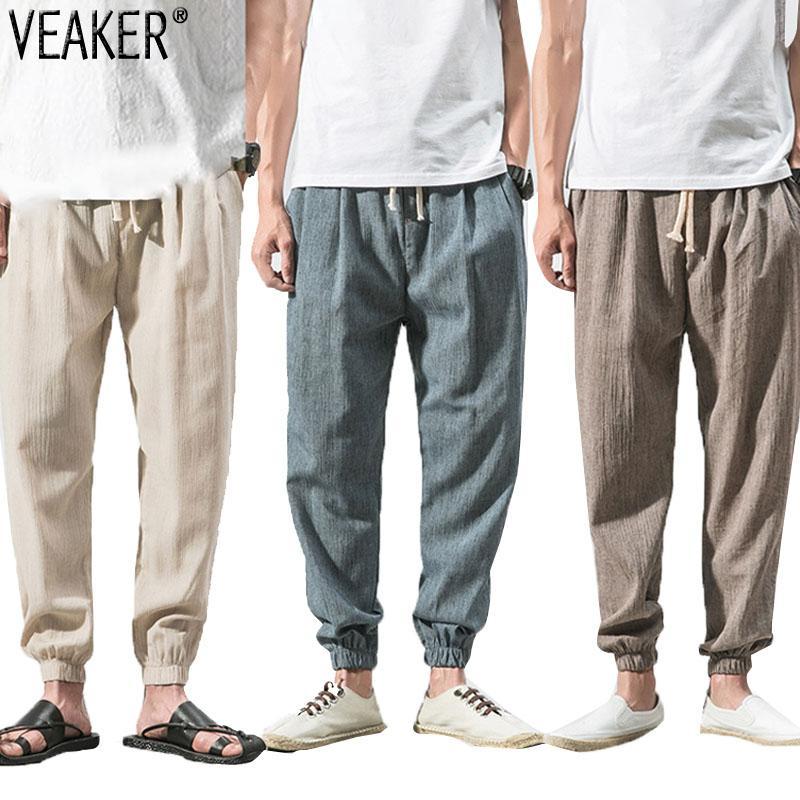 2020 Yeni Erkek Yaz İnce Keten Pantolon Erkek Katı Renk Nefes Pamuk Keten Pantolon Spor Pantolon Artı boyutu M-5XL