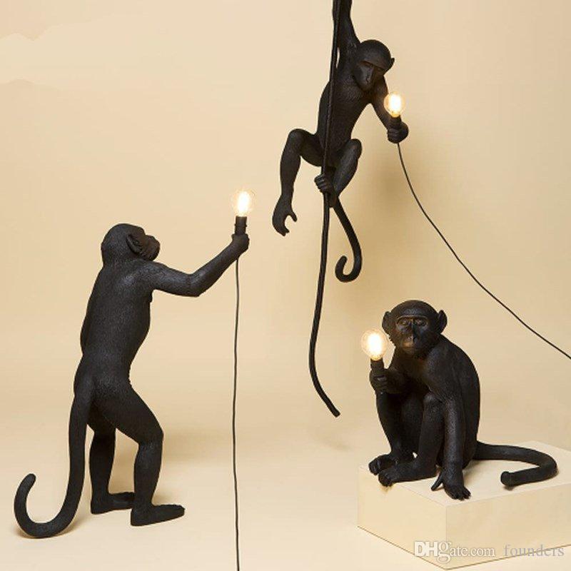 Modern Black Monkey Lamped Resina Corda di canapa SELETTI Lampada Monkey Lampada Bianco Soggiorno Scimmia luci in luci pendenti Lampada a sospensione E27