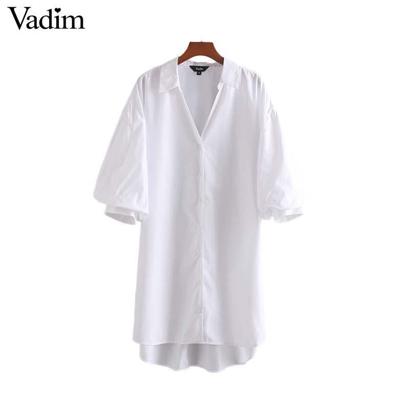Vadim mulheres elegante blusa longa vez de manga curta sólida no colarinho projeto irregular brancas pretas longas topos soltas blusas DA624