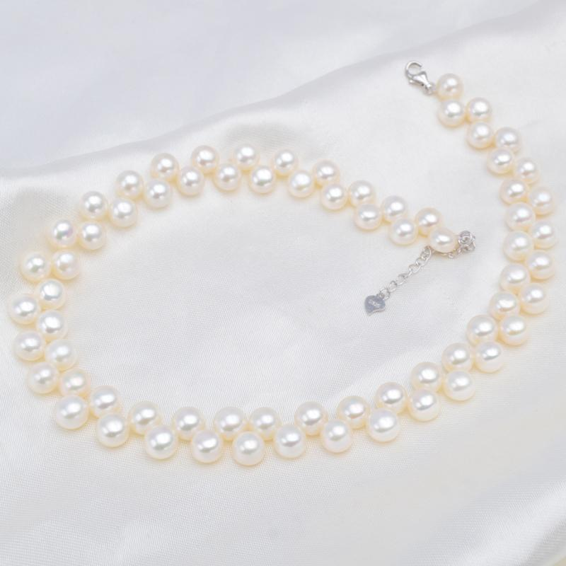 ASHIQI Handmade Real Freshwater Pearl Chokers Necklaces 925 Sterling silver Clasp Bohemian jewelry for women