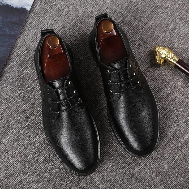 Hot Sale- genuine leather venting hole short plush men classic shoes office shoes men elegant bota masculina zapatos de seguridad