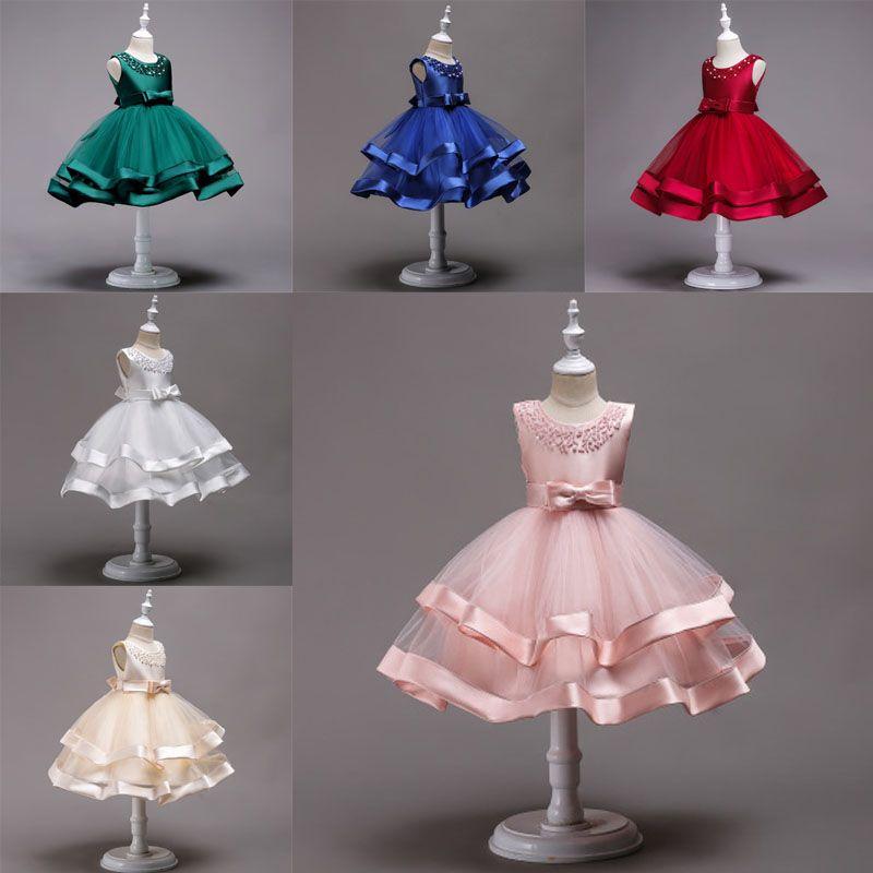 Girls Wedding Dresses 7 Colors Bow Tie Beaded Lace Princess Dress Invisible Zipper Mesh Dress Kids Girls Party TUTU 2-12T 04