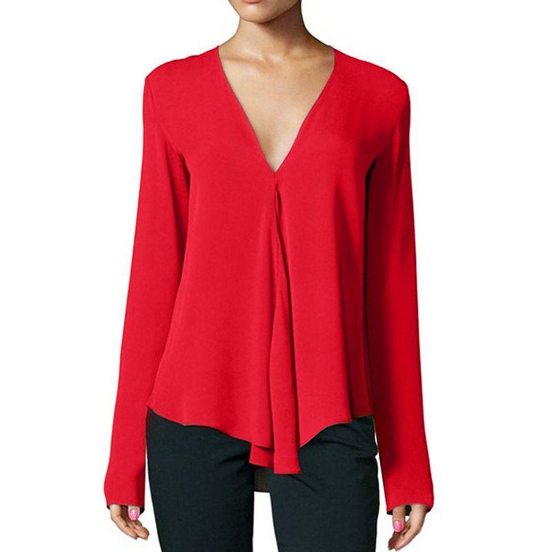 2019 neue Herbst-Frauen-Blusen beiläufige Art und Weise sexy V-Ausschnitt T-Shirts Große Fest Farbe Chiffon Shirts S-6XL