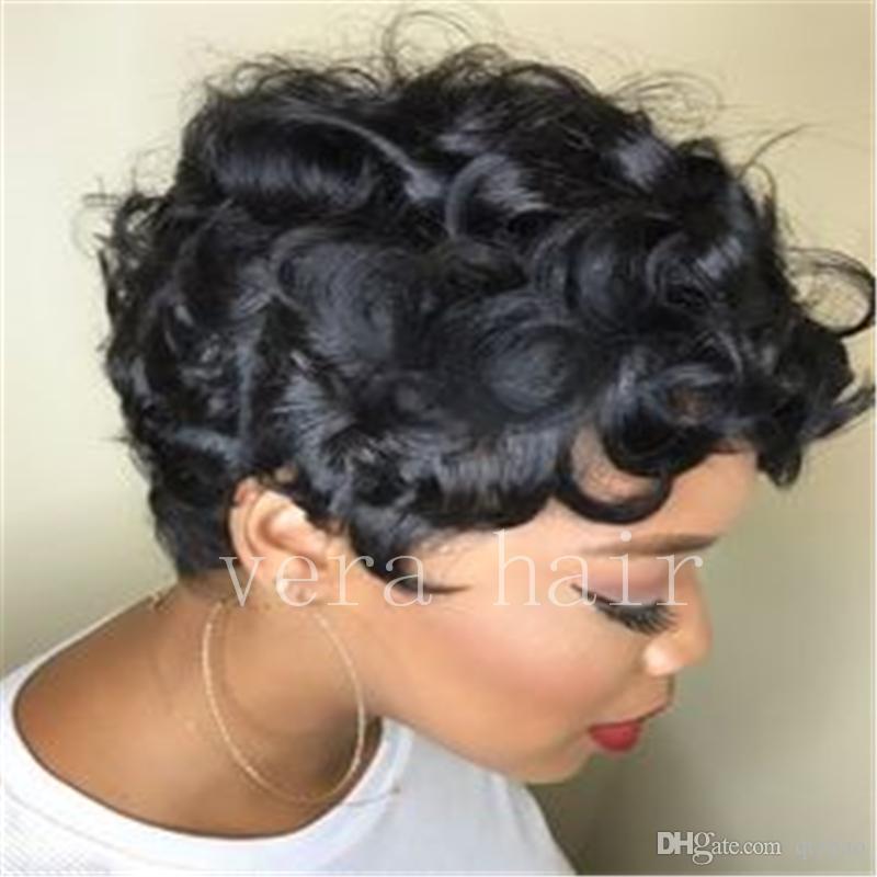 قصيرة شعر الإنسان الباروكات عابث الباروكات للنساء آلة صنع أيا الدانتيل الباروكات موجة مجعد شعر مستعار
