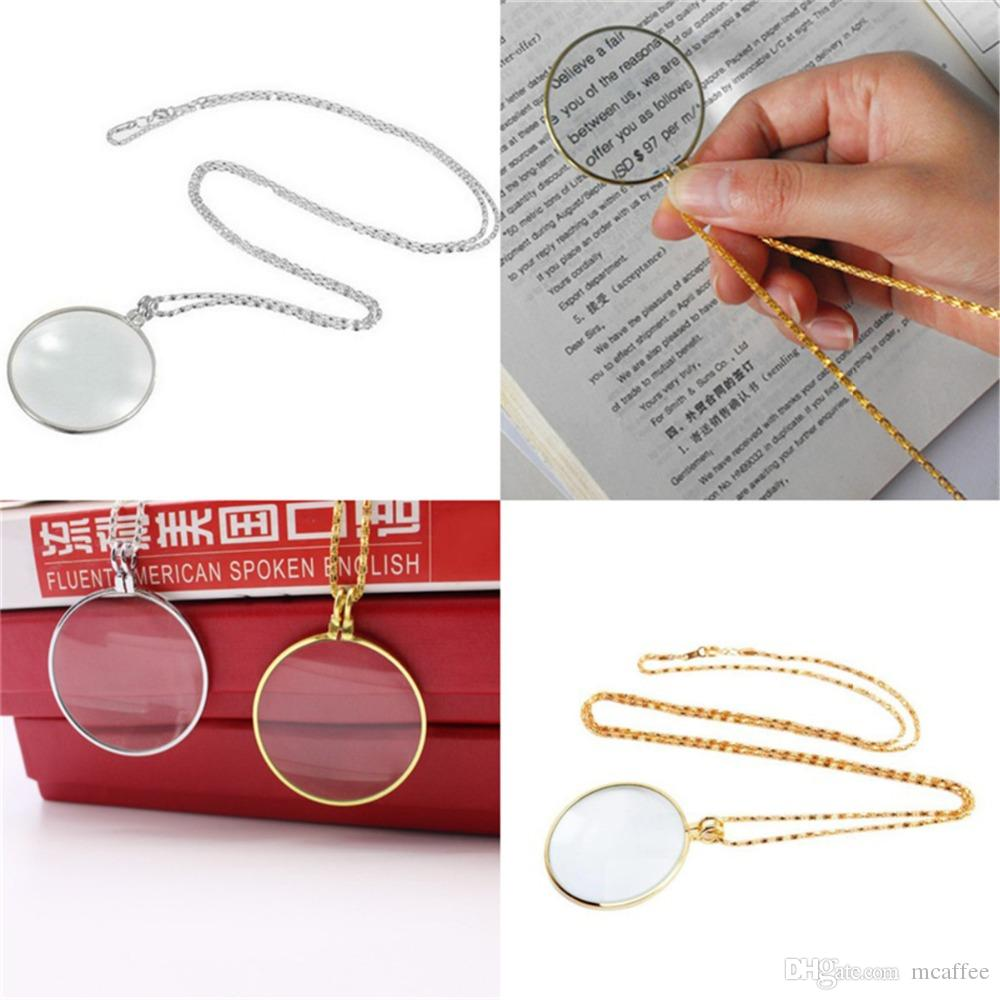 Decorative Necklace 5x Magnifier Magnifying Glass Pendant Gold Silver Plated Chain Necklace Handy Handheld Magnifier