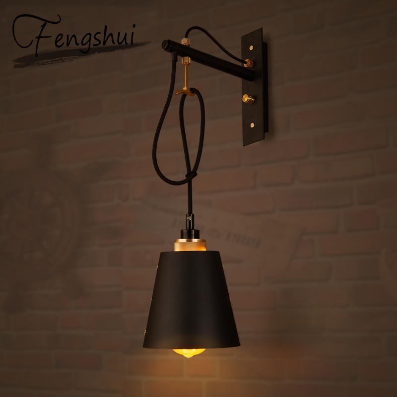 Vintage Demir LED Duvar Lambaları Endüstriyel Aplikleri Yatak Odası Işık Armatür Başucu Bar Restaurant Cafe Loft Dekor Koridor Duvar Işık