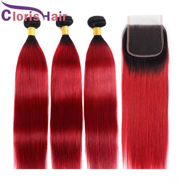 Radici rosso scuro Ombre Capelli 3 pacchi prime vergini indiani dei capelli diritti Tessiture Con chiusura del merletto colorato 1b Red Ombre Capelli Extensio
