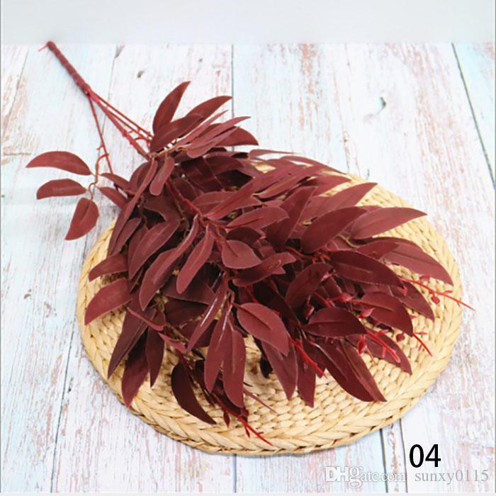 6 renkler ipek söğüt yapay çiçek yaprakları tropikal bitki ofis ev düğün bitkileri bahçe ev ofis dekorasyon bırakır