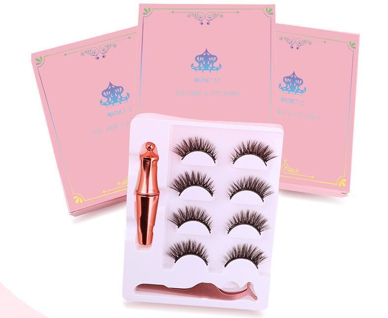 Magnetic Liquid Eyeliner & Magnetic False Eyelashes & Tweezer Set 5 Magnet False Eyelashes Set Glue Make Up Tools 4 Pairs eyelash