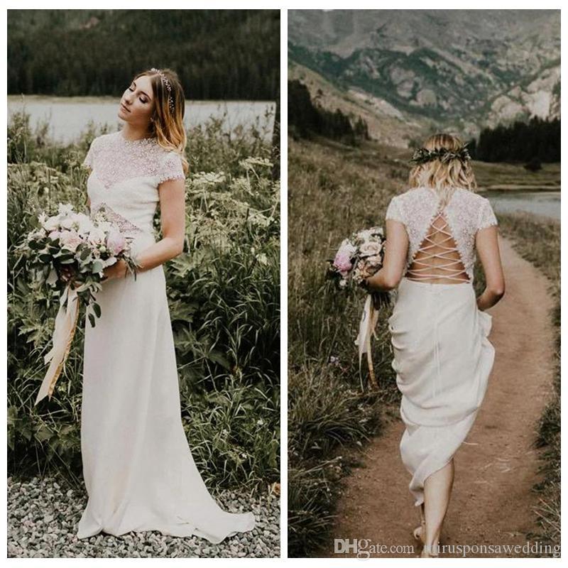Sexy See Through Vintage Свадебное платье с полым назад свадебное платье линии с коротким рукавом атласное платье Pure White Wedding для новобрачных