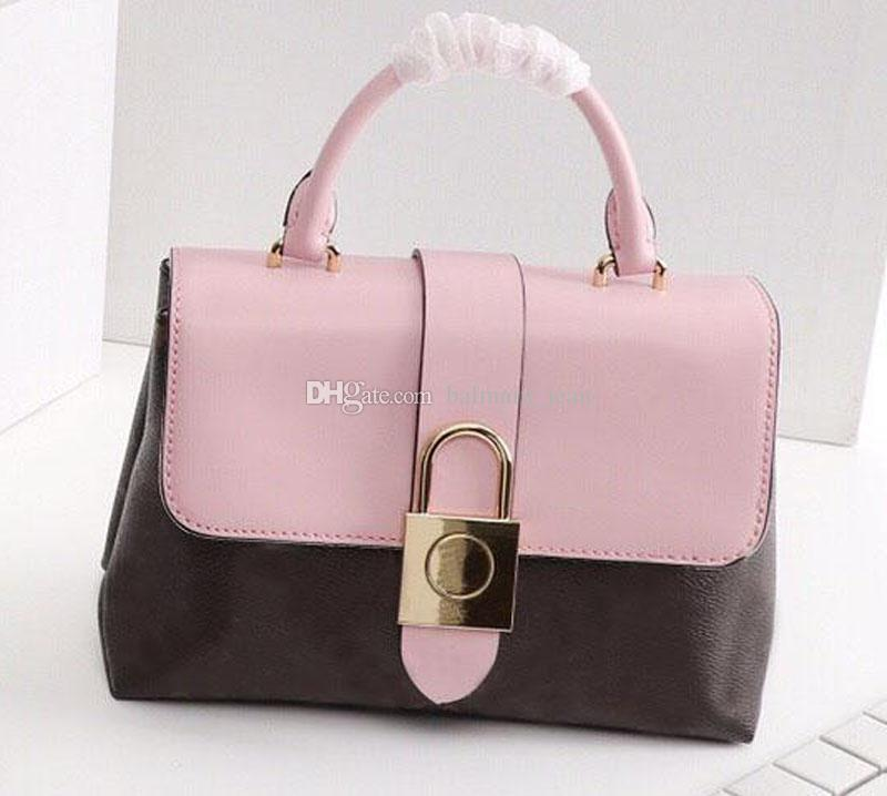 New Hot Sale Tote Handbags Lady Purses One Handle LOCKY BB Fashion Genuine Leather Women Shoulder Bags Classic Padlock Lock Flip Bag 44080