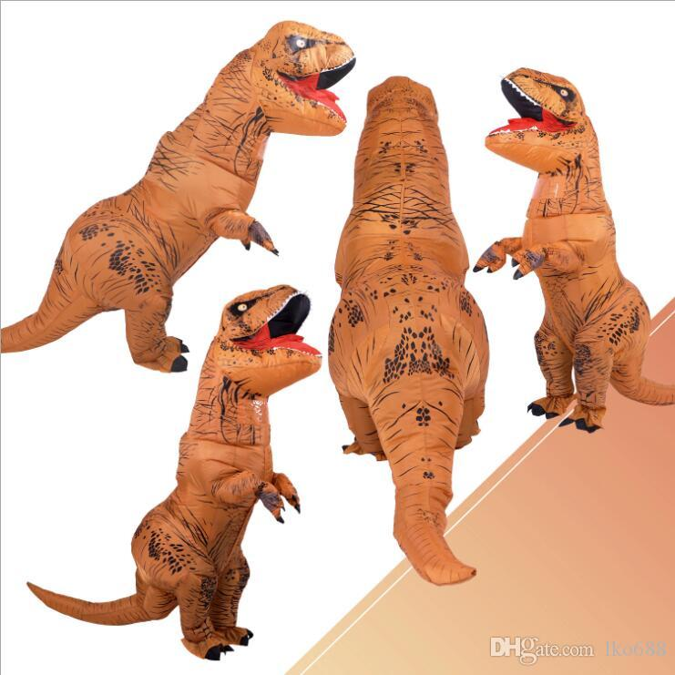 T-REX Inflatable Dinosaur Costume Jurassic Blow up Adults Kids Outfit Christmas
