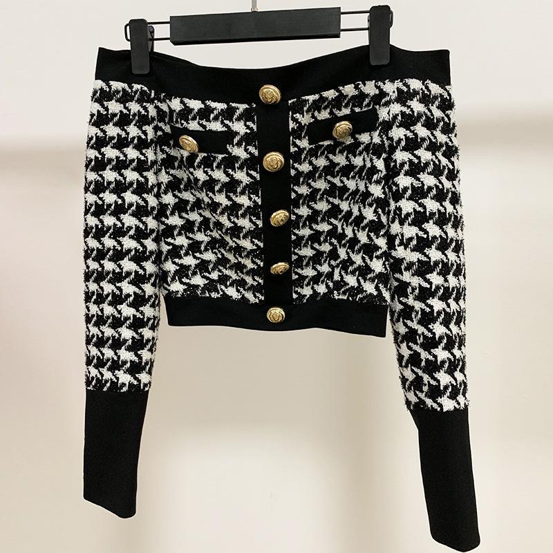 Neue Marke Fashion Damen High-End-Luxus-Retro- Lion-Schnalle-Rücken-Reißverschluss-Kragen helle Seide-Tweed-kurze Spitze freies Verschiffen