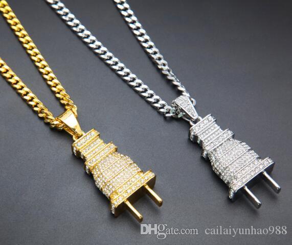 Novo 14 K Banhado A Ouro Heavy duty plugue completo broca pingente conjunto com pingentes de diamante