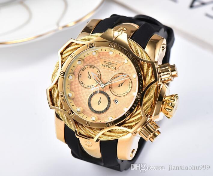 la marca suiza COSC INVICTA LOGOTIPO de línea rotativa calidad estupenda reloj de cuarzo de silicona negocio multifunción reloj de los hombres