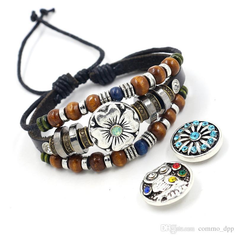 Vintage bottoni a pressione braccialetto 18mm Ginger scatta Charm In vera pelle involucro bordato del braccialetto per le donne Moda uomo noosa punk gioielli