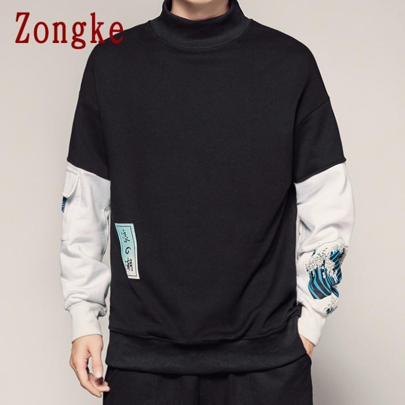 Zongke Japan Style vague Hoodie hommes japonais Streetwear Hoodies Hip Hop Sweat-shirt à capuche Homme Sweat-shirts XXXL 2019