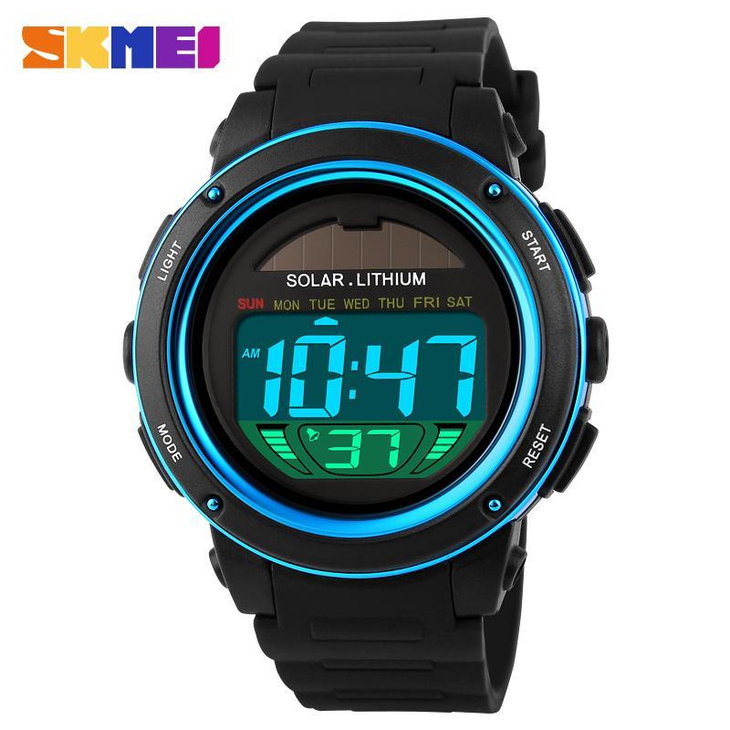 SKMEI Brand Solar Energy Men Relojes deportivos electrónicos Reloj militar LED para exteriores Relojes de pulsera digitales Relogio Masculino 1096
