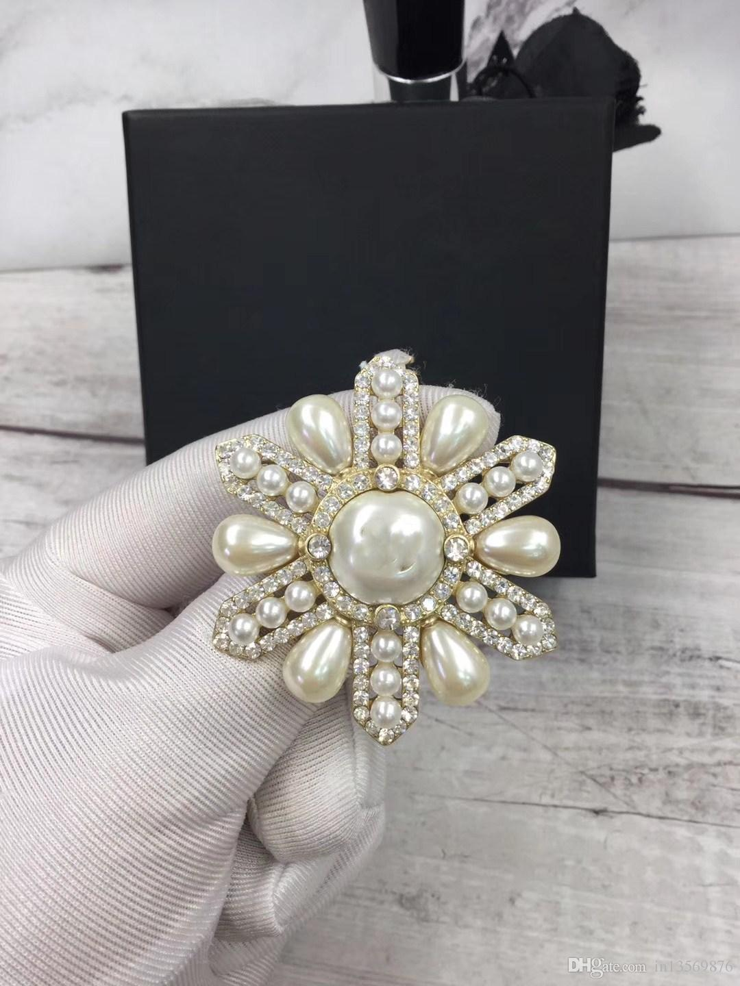 fashion luxury women's female's ladies stamped cross pearls crystals hollow out brooches pins with box free shipping