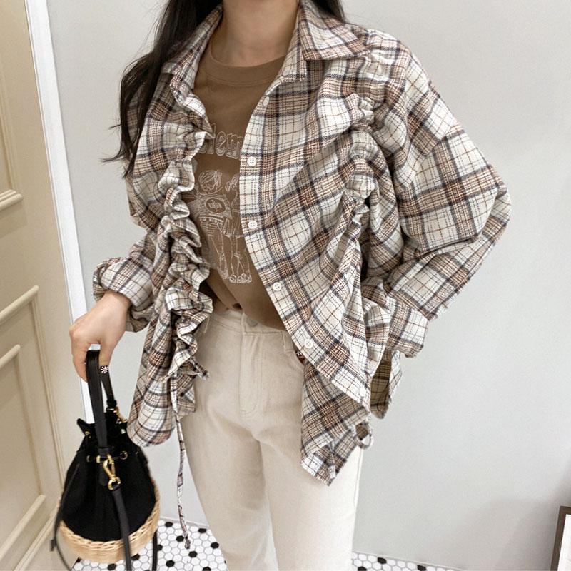 SuperAen 2020 Primavera e Outono camisas novas Mulheres de manga comprida xadrez cordão selvagem Ladies Blusas e Tops Coreano de estilo Shirts