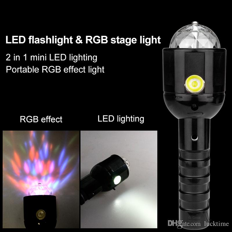 2 en 1 LED RGB Etapa Linterna Linterna Dual Uso DUAL LED Linterna Linterna Discoteca Decoración de la Fiesta Etapa Linterna Lámpara de antorcha