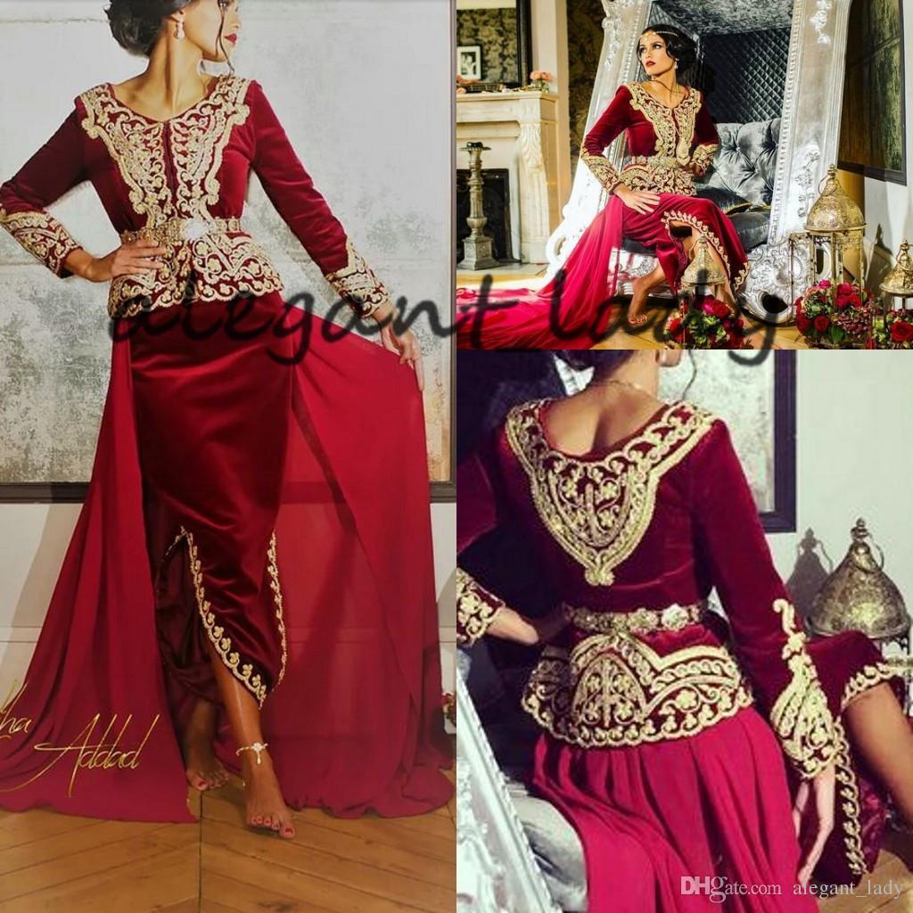 Caftan Karakou Algerien Prom Formale Kleider mit langem Ärmel 2019 Burgund Velvet Gold Spitze Peplum Anlass Abendkleid Tragen