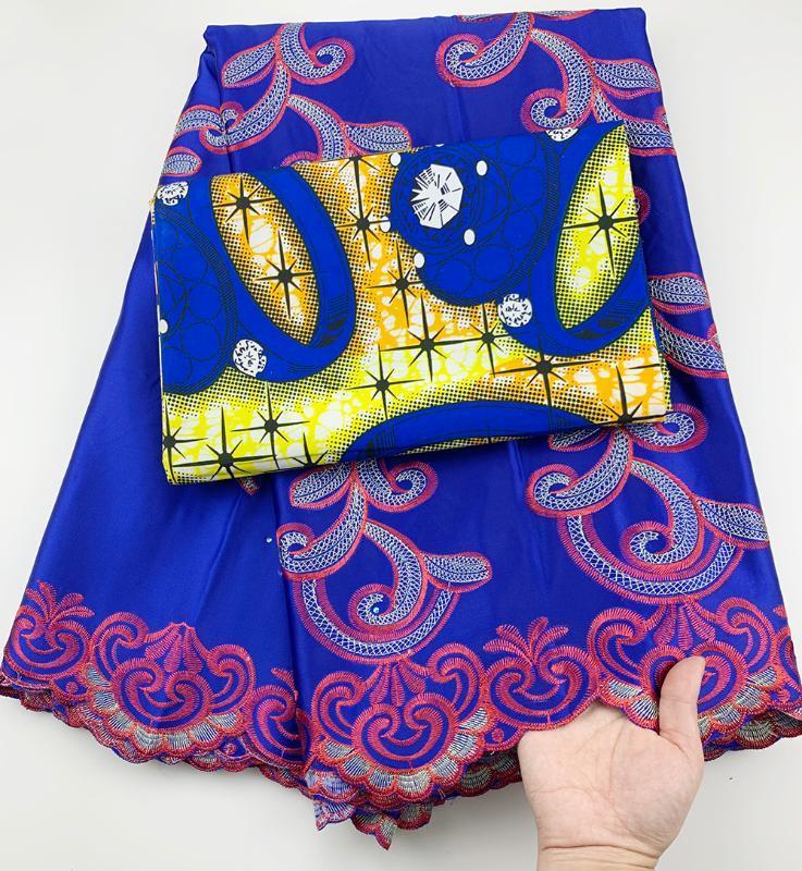 الافريقية جورج النسيج الدانتيل الأزرق أنقرة الأفريقية الشمع طباعة النسيج الدانتيل 2.5 + 3yards القطن لفستان CC-A28
