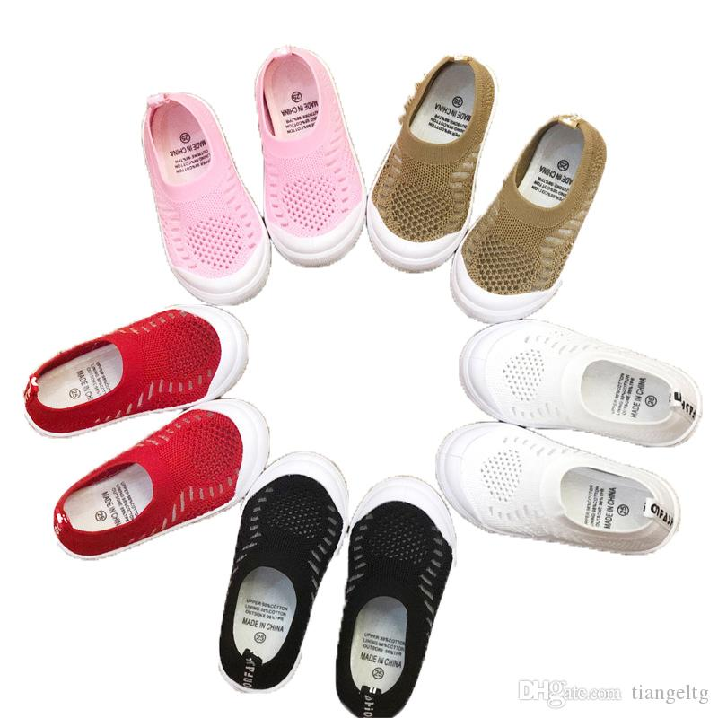 Kids Summer Flat Shoes Woven Fabrics Solid Color Knitted Socks Shoe Breathable Slip-On Baby Shoes Elastic Sleeves Kids Shoes
