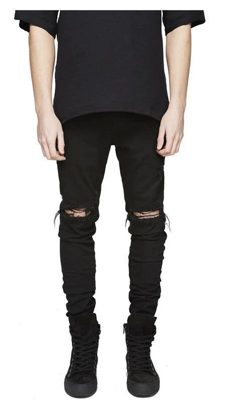 New Mens Black Jeans Cores sólidas jeans stretch Slim Fit longa Denim Pants Hip Hop calças lápis calças para Male