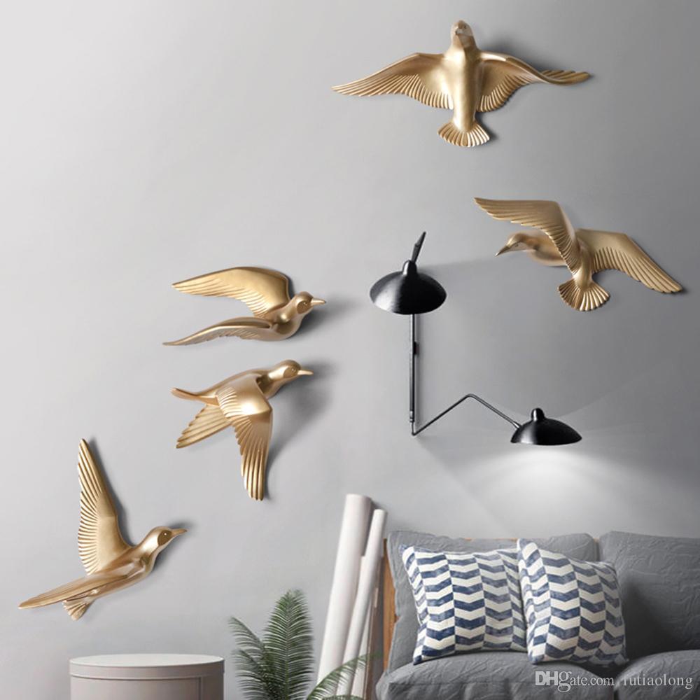 Sala de resina pájaros creativos para la pared 3d pegatina Vida Animal Figurita Murales tv fondo de la pared pájaros decorativos Decoración del hogar