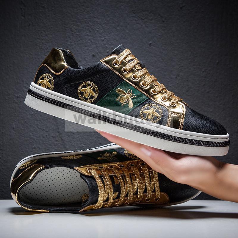 Casual Desinger Chaussures pour hommes Noir Skate Chaussures de sport en cuir PU d'or de luxe broderie LY191213