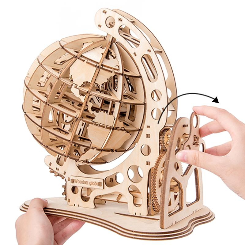 2019 new wooden globe DIY collected creative 3D toy wooden mechanical transmission model compiled educational toys Y200413