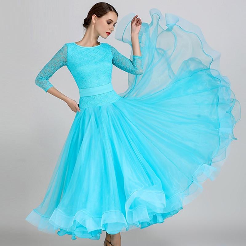 무대 착용 블루 볼룸 댄스 경쟁 드레스 왈츠 스탠다드 드레스 여성 프린지