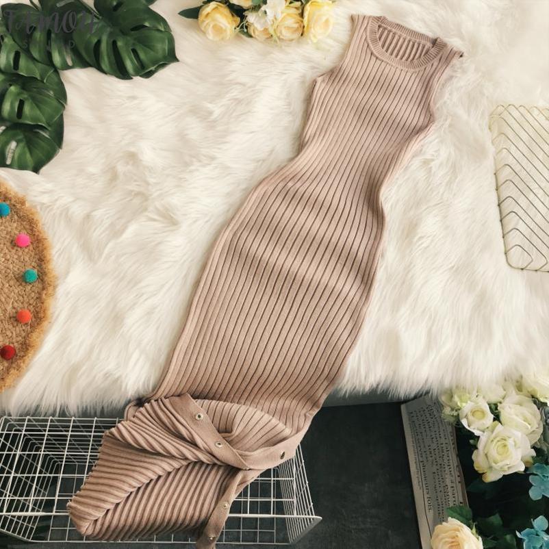2.020 Mulheres de Moda de Nova Adulto Roupa Outono e Inverno Knitting Rodada Neck mangas magro sexy Mid-comprimento vestido PP034