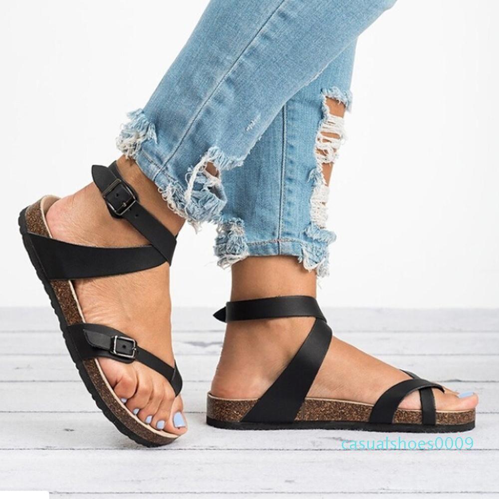 Sandales femme Chaussures 2019 Été Toe Gros plat solide PU Casual fille plage Femme flops dames Chaussures Femmes Noir Marron 35-43 C09