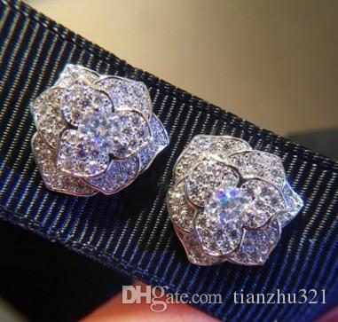 2paris / lots mode basse pirce haute qualité cristal de diamant camélia fin personnalisée earings de 28tt dame en argent 925