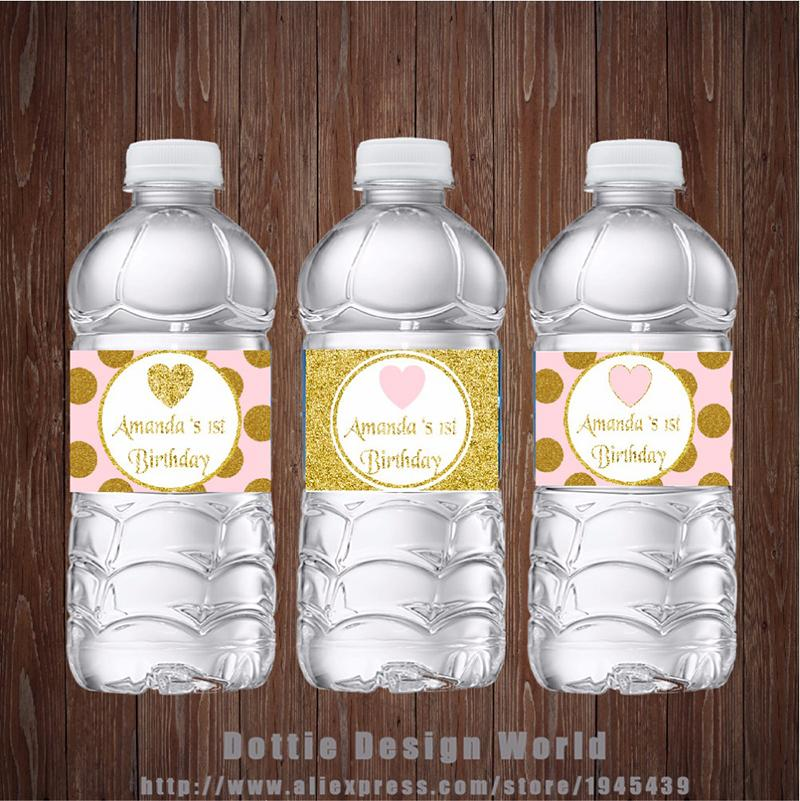 New Design Princess Party Water Bottle Labels Gold Pink Glitter Heart Candy Bar Birthday Baby Shower Party Decoration Supplier