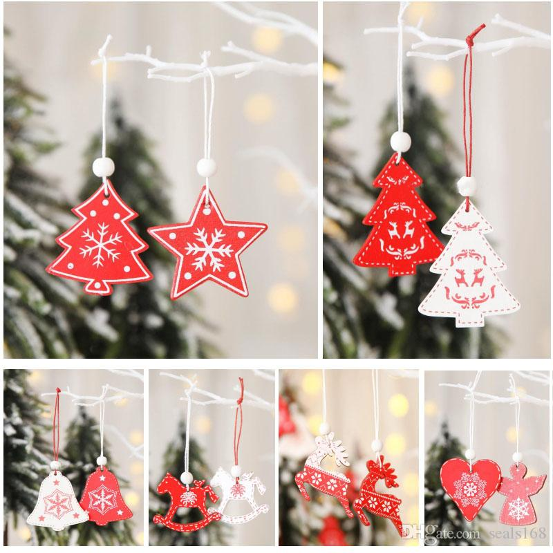 12pcs / lot Noel ağacı kolye Süsleme Ahşap Asma Kolye Beyaz Kırmızı Melek Kar Bell Elk Yıldız Ev Noel Süsleri HH9-A2545