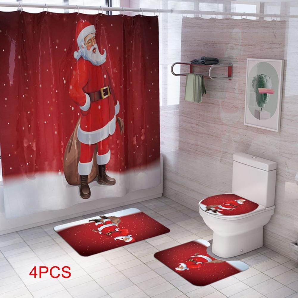Navidad Imprimir Cuarto de baño Decoración Conjunto de asiento de inodoro cubierta de bañera Rug 4pcs cortina de ducha / Set