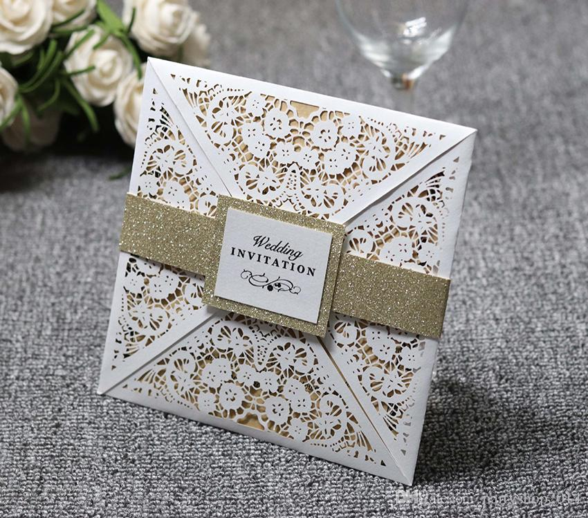 Customize High Quality Wedding Invitation Cards Lace Hollow White Elegant Solid Invitations Pocket Square Laser Cut Invitations Cards