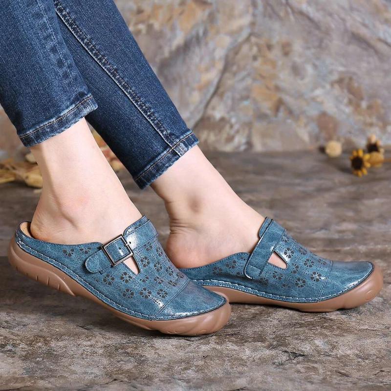 chaussures romaines Vintage Femmes d'été en cuir PU Chaussons plate-forme de coin dames occasionnels chaussures glisse en dehors de la plage des femmes 2020 nouvelle