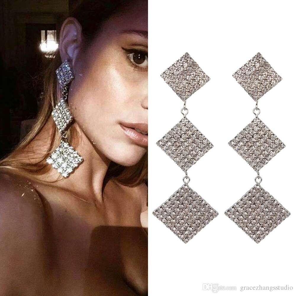multilayered square diamonds dangle earrings for women golden silver Rhinestone chandelier earring western trendy luxury fashion jewelry