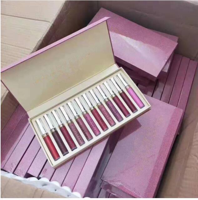 Yeni Makyaj Seti 12 adet Set Sıvı Ruj 12 Parça Koleksiyonu Uzun Ömürlü Ruj Makyaj Mat Dudak Parlatıcısı Setleri Ücretsiz Kargo