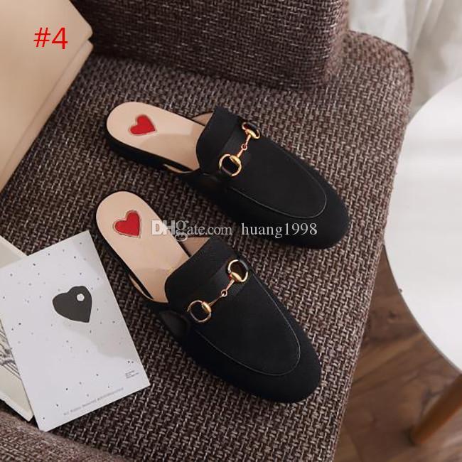 Nova moda de alta qualidade Designer mulas Princetown Plano sola de sapatos casuais couro fivela de metal Sapatas das senhoras Genuine mulheres de couro Atropelar L