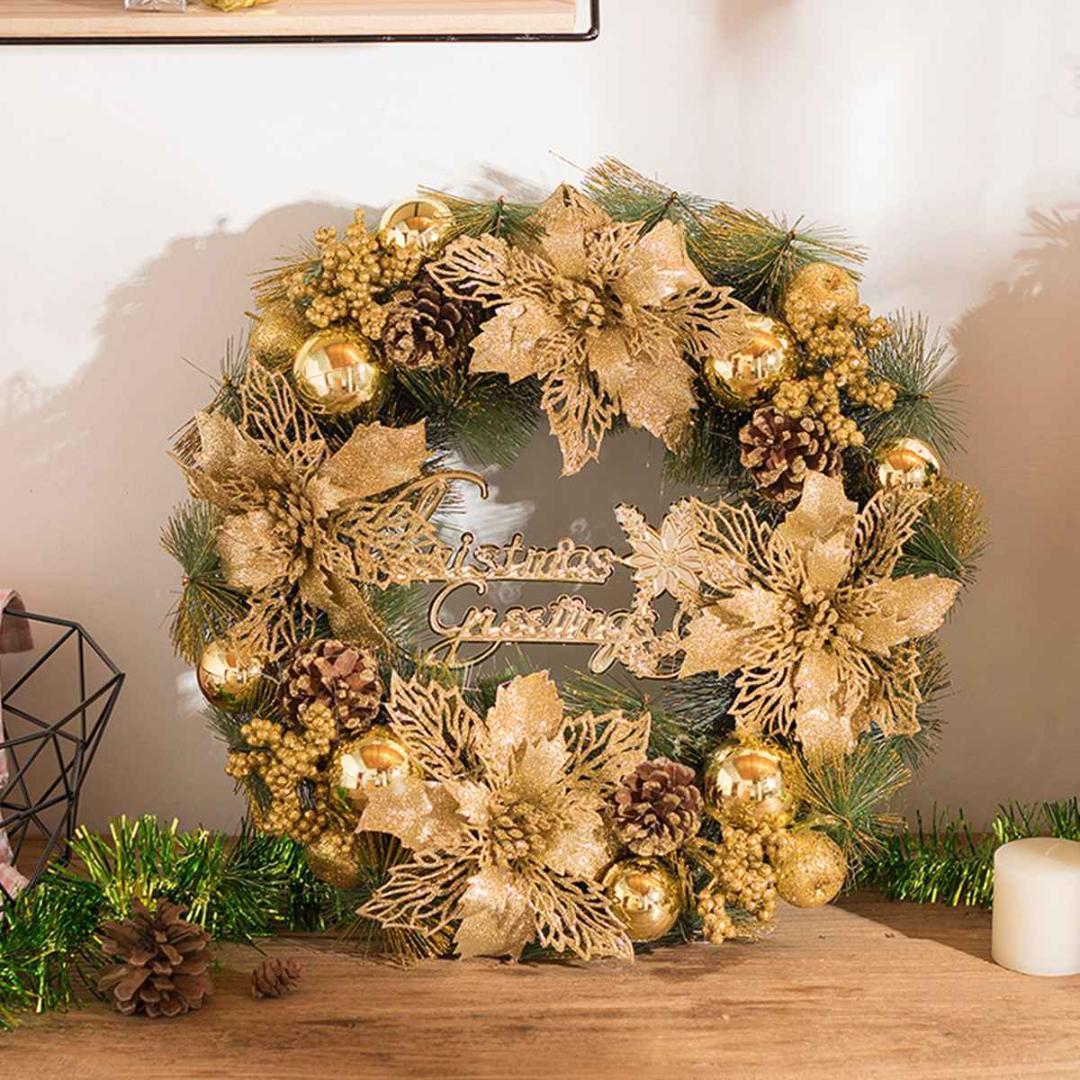 30см висячие Рождественский венок двери / окна Показать Венок Гирлянды DIY украшения рождественской елки Праздничная для вечеринок Golden