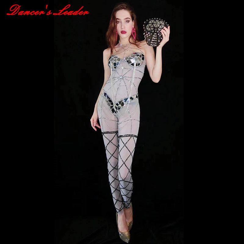 Stretch Mesh Strass Body Leggings DS costume femminile Cantante Stage di usura DJ balla usura del partito Stretch tuta Outfit 2020