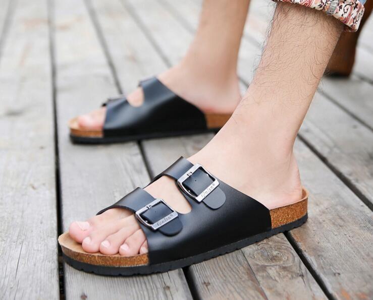 Mujer de los hombres de verano de Corea ocio zapatillas de playa de amantes ocasionales de corcho sandalias zapatillas tamaño Verano 39-44