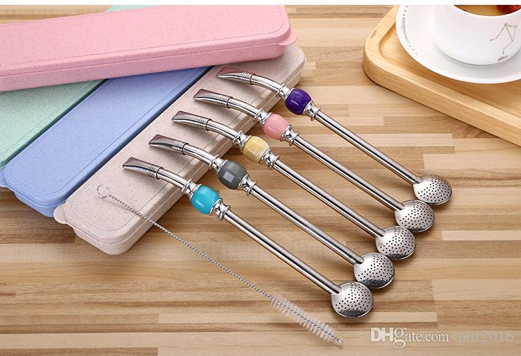 100sets Stainless Steel Straws Yerba Mate Tea Bombilla Gourd Reusable Drinking Straws Filtered Spoon With Brush Box